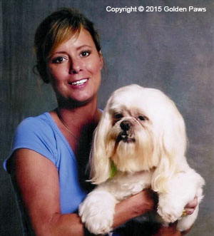 Mitzi Parish or Golden Paws posing with a dog